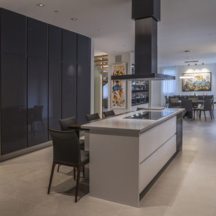 Inspiration for a contemporary galley kitchen/diner in Other with flat-panel cabinets, grey cabinets, an island, grey floors and red worktops.