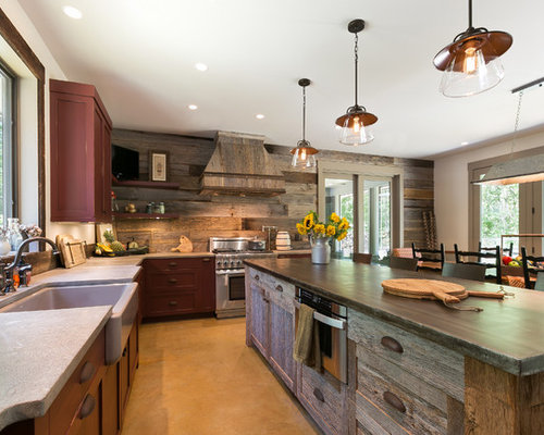 Distressed Wood Kitchen Island Home Design Ideas, Pictures, Remodel and Decor