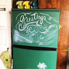 Eclectic Kitchen chalkboard refrigerator