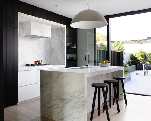 Photo Of A Scandinavian Galley Kitchen In Melbourne With A Double Bowl  Sink, Flat Part 98