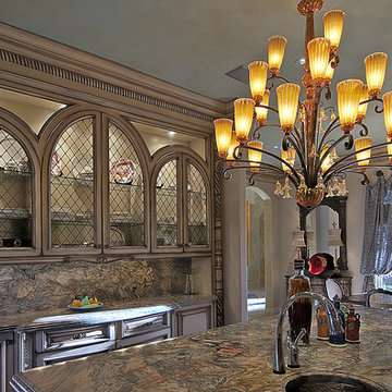 Chandelier and Arch Cabinets