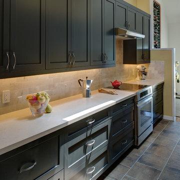 Charcoal Galley Kitchen- Designed By Jane Regan