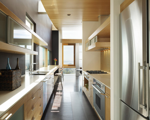 Galley kitchen half wall houzz for Single wall galley kitchen