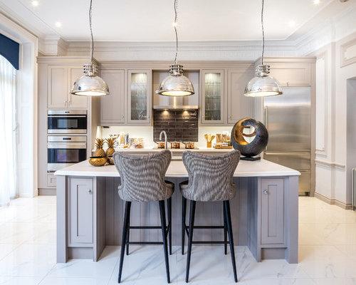 Cucina bianca e tortora - Foto e idee | Houzz