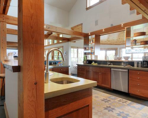 cuisine avec un plan de travail en terrazzo et un sol en ardoise photos et id es d co de cuisines. Black Bedroom Furniture Sets. Home Design Ideas