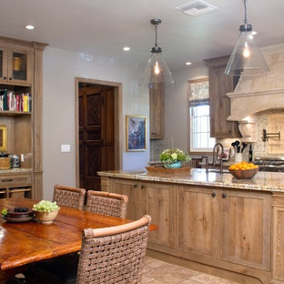 French White Oak Cabinets Inspiration For A Timeless Travertine Floor Open Concept Kitchen Remodel In Los Angeles With Single
