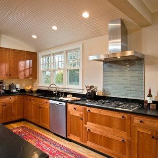 ボストンの大きいエクレクティックスタイルのおしゃれなキッチン (アンダーカウンターシンク、落し込みパネル扉のキャビネット、中間色木目調キャビネット、ソープストーンカウンター、青いキッチンパネル、ボーダータイルのキッチンパネル、シルバーの調理設備、無垢フローリング) の写真