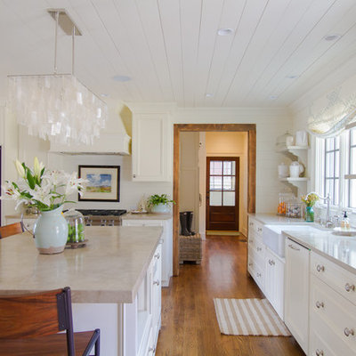 Example of a country kitchen design in Atlanta with open cabinets