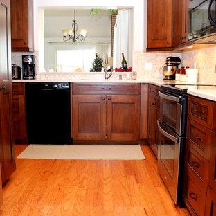 デンバーの小さいトラディショナルスタイルのおしゃれなキッチン (アンダーカウンターシンク、シェーカースタイル扉のキャビネット、濃色木目調キャビネット、シルバーの調理設備の、淡色無垢フローリング、クオーツストーンカウンター、マルチカラーのキッチンパネル、モザイクタイルのキッチンパネル、アイランドなし) の写真