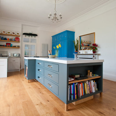 Inspiration for a contemporary kitchen remodel in Cornwall with shaker cabinets and blue cabinets