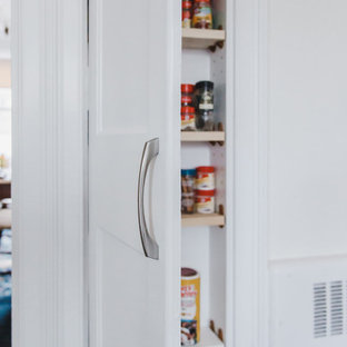Mid-sized traditional galley kitchen pantry in Boston with a farmhouse sink, shaker cabinets, light wood cabinets, granite benchtops, grey splashback, ceramic splashback, stainless steel appliances, with island and green benchtop.
