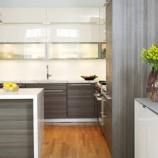 Kitchen - contemporary kitchen idea in New York with glass-front cabinets, gray cabinets and marble countertops