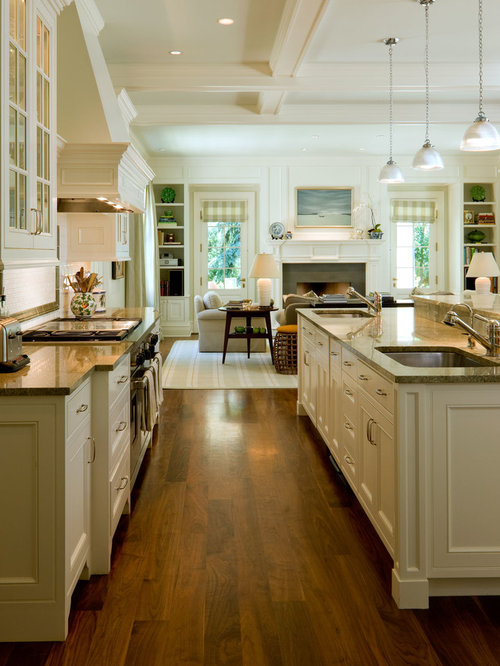 White Kitchen Family Room kitchen family room flooring | houzz
