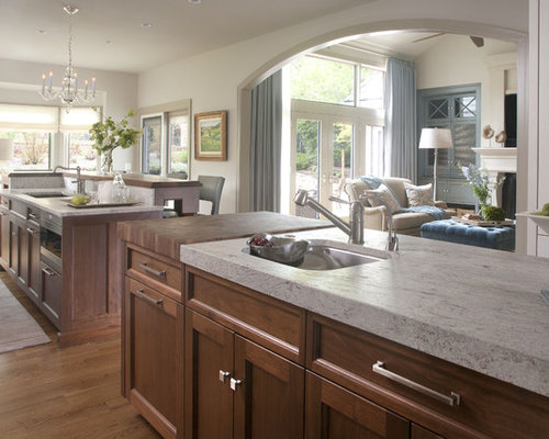 Transitional Open Concept Kitchen Photo In Denver With An Undermount Sink,  Recessed Panel Cabinets