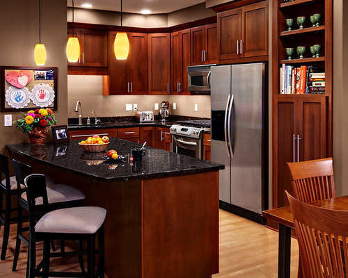 Best Cherry Cabinets Black Granite Design Ideas Remodel Pictures Houzz