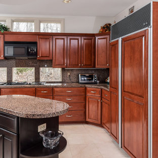 Large transitional eat-in kitchen appliance - Inspiration for a large transitional l-shaped ceramic floor and white floor eat-in kitchen remodel in Baltimore with a double-bowl sink, raised-panel cabinets, medium tone wood cabinets, granite countertops, stainless steel appliances, an island and multicolored countertops