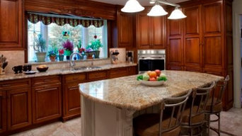 Cherry Kitchen with custom backsplash