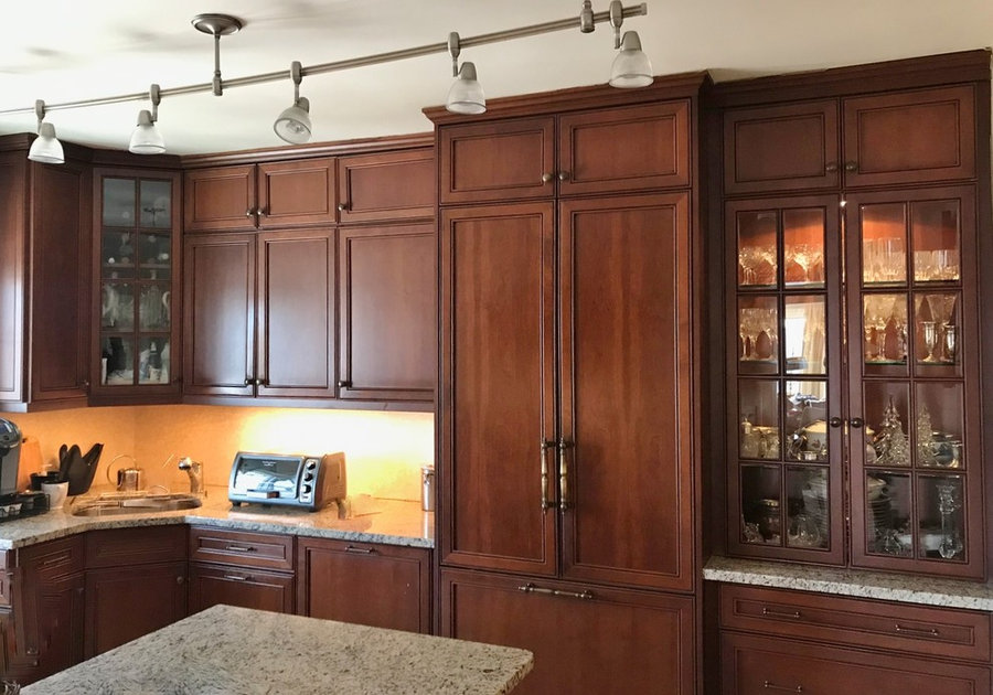 Cherry Kitchen with Stacked Upper Cabinets