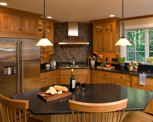 Craftsman Kitchen Remodeling   Example Of An Arts And Crafts L Shaped Kitchen  Design In Part 70