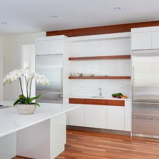 Chestnut Hill, MA - White High Gloss Kitchen w/Mahogany