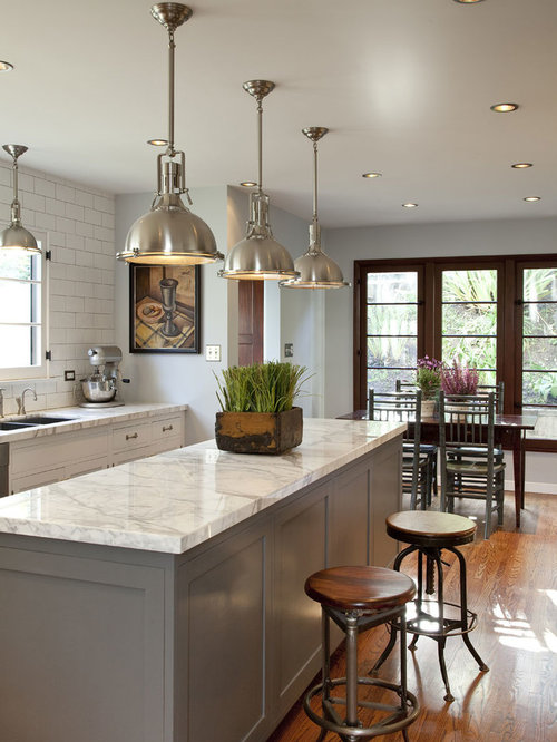 Elegant Eat In Kitchen Photo In Los Angeles With Gray Cabinets And Marble  Countertops