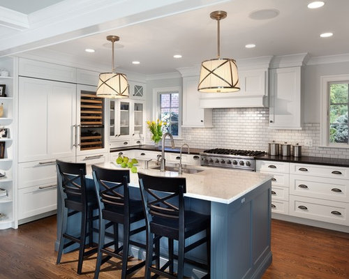 White Kitchen Dark Island dark island white kitchen | houzz