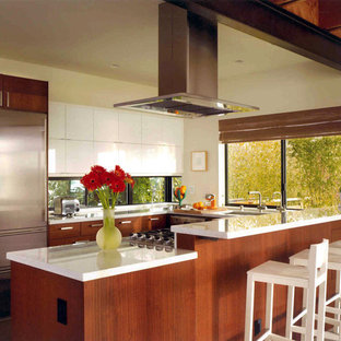 Large modern eat-in kitchen ideas - Inspiration for a large modern u-shaped concrete floor and gray floor eat-in kitchen remodel in Seattle with flat-panel cabinets, dark wood cabinets, stainless steel appliances, an undermount sink, solid surface countertops and a peninsula