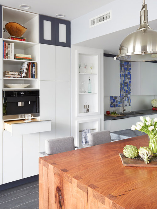 Kitchen Design Ideas Renovations Photos With Mirror Splashback And Cork Flooring