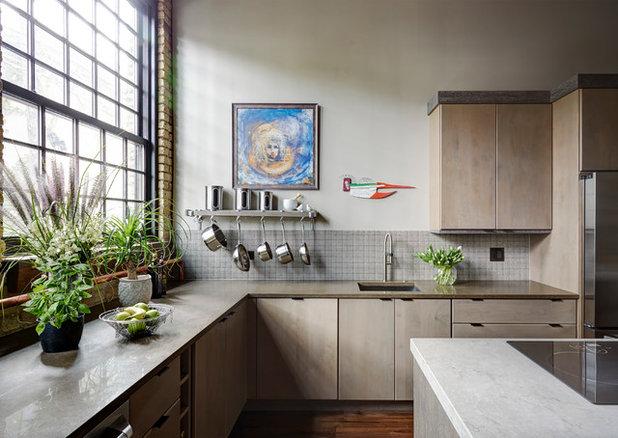 Cute Industrial Kitchen by FMA Interior Design Inc