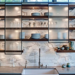 Contemporary kitchen in Chicago with open cabinets, a farmhouse sink, white splashback and marble splashback.