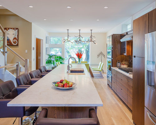 Eat In Kitchen   Small Contemporary Galley Medium Tone Wood Floor Eat In  Kitchen