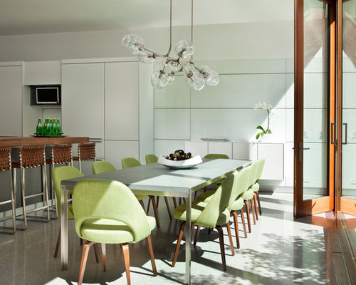 Trendy Eat In Kitchen Photo In Chicago With Flat Panel Cabinets, White  Cabinets