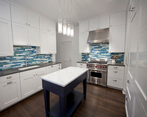 traditional ushaped kitchen idea in chicago with an undermount sink shaker cabinets