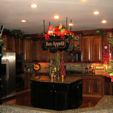 Traditional Kitchen Christmas Kitchen Pot Rack