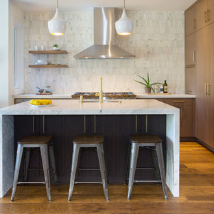 Contemporary kitchen remodeling - Example of a trendy kitchen design in San Francisco
