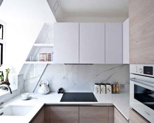 Small Trendy U Shaped Kitchen Photo In London With An Undermount Sink, Flat