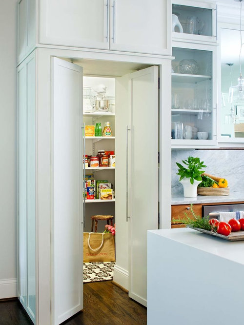 trendy galley kitchen pantry photo in atlanta with recessed panel cabinets white cabinets