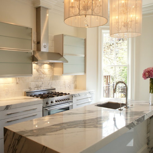 Marvelous Example Of A Transitional Kitchen Design In Boston With Marble Countertops,  A Single Bowl