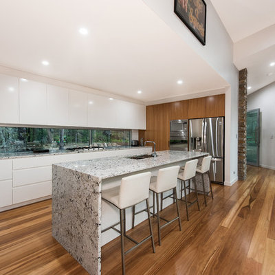 Transitional galley dark wood floor kitchen photo in Brisbane with an undermount sink, flat-panel cabinets, white cabinets, stainless steel appliances and an island