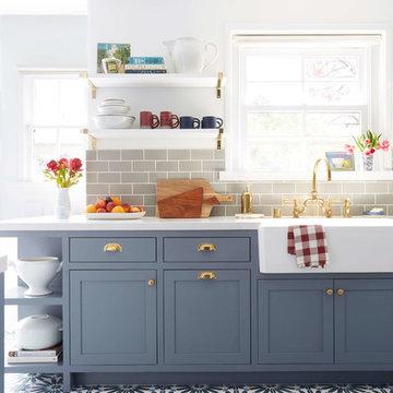 Classic 3x6 Kitchen Backsplash in Blue Spruce