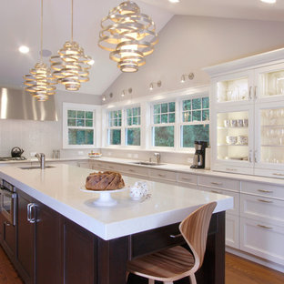 ローリーの中サイズのエクレクティックスタイルのおしゃれなキッチン (ダブルシンク、落し込みパネル扉のキャビネット、白いキャビネット、クオーツストーンカウンター、白いキッチンパネル、ガラスタイルのキッチンパネル、シルバーの調理設備、無垢フローリング、茶色い床) の写真