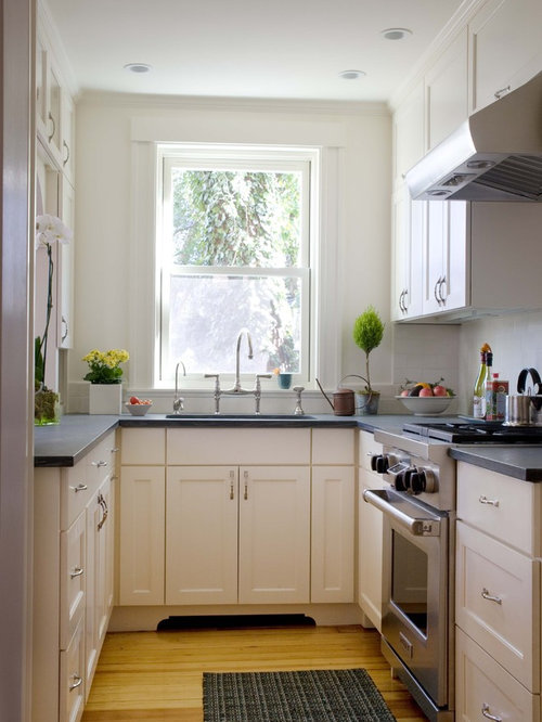 Perfect Example Of A Small Classic Enclosed Kitchen Design In Boston With Stainless  Steel Appliances, Recessed