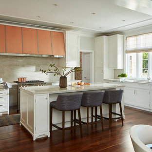 Transitional kitchen inspiration - Example of a transitional l-shaped dark wood floor and brown floor kitchen design in Chicago with an undermount sink, beaded inset cabinets, white cabinets, beige backsplash, stainless steel appliances and an island