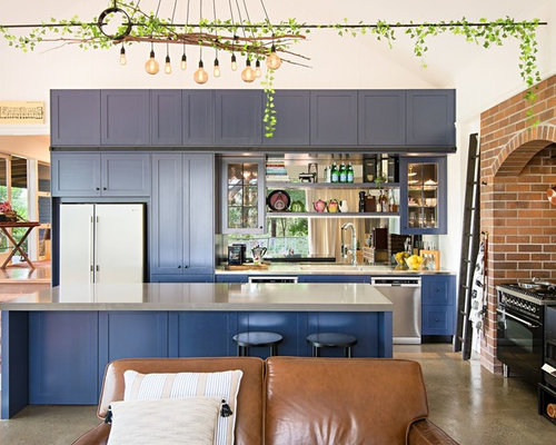 Design Ideas For An Eclectic L Shaped Open Plan Kitchen In Brisbane With  Shaker Cabinets