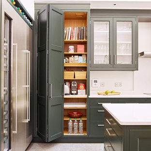 Design ideas for a contemporary kitchen pantry in London.