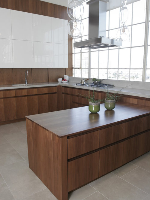 Walnut veneer cabinets houzz for Veneer for kitchen cabinets