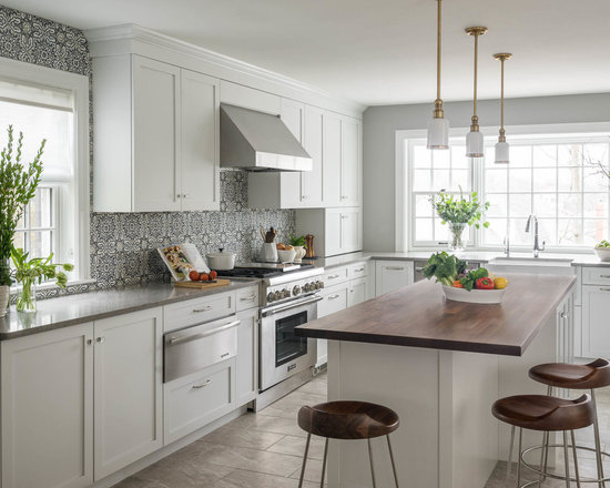 Gray Floor White Cabinet Ideas Houzz