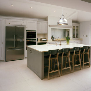 Elegant galley kitchen photo in Other with an undermount sink, shaker cabinets, gray cabinets and an island