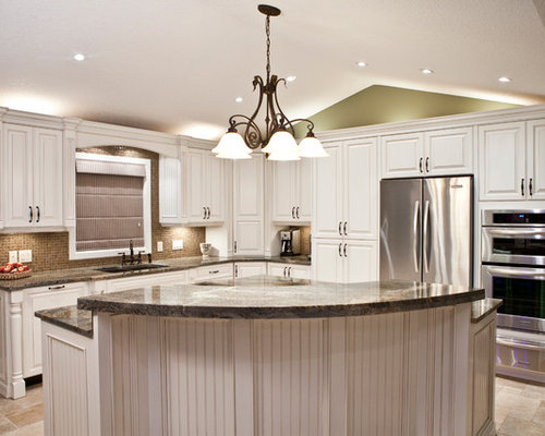 best kitchen pantry with glass tile backsplash and