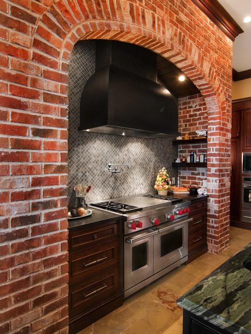 SaveEmail - Travertine Brick Joint Tile Backsplash Houzz